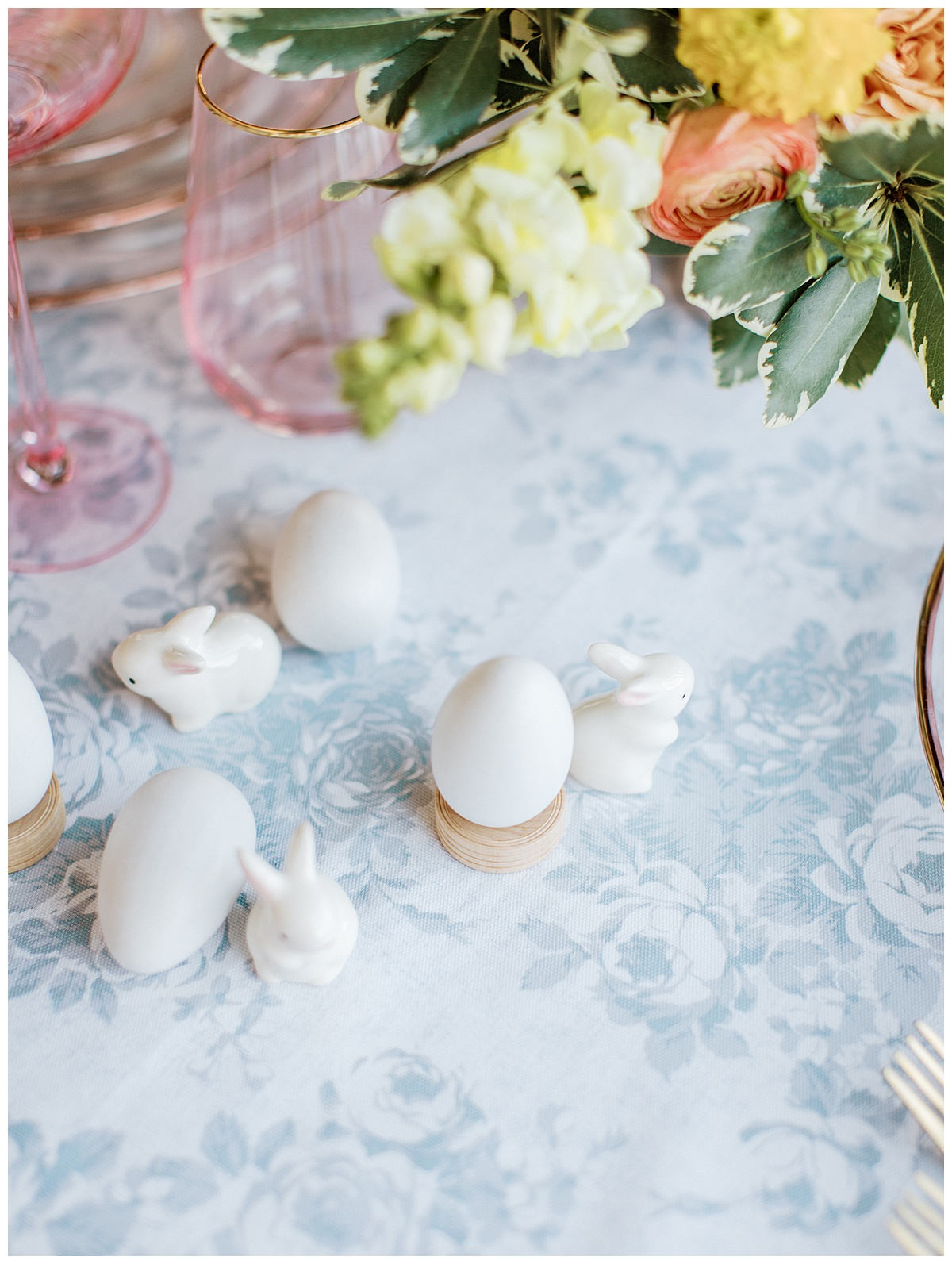 bunnies and eggs on Easter tablescape