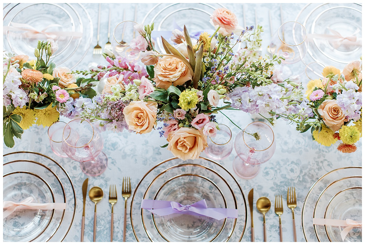 close up of overhead spring tablescape