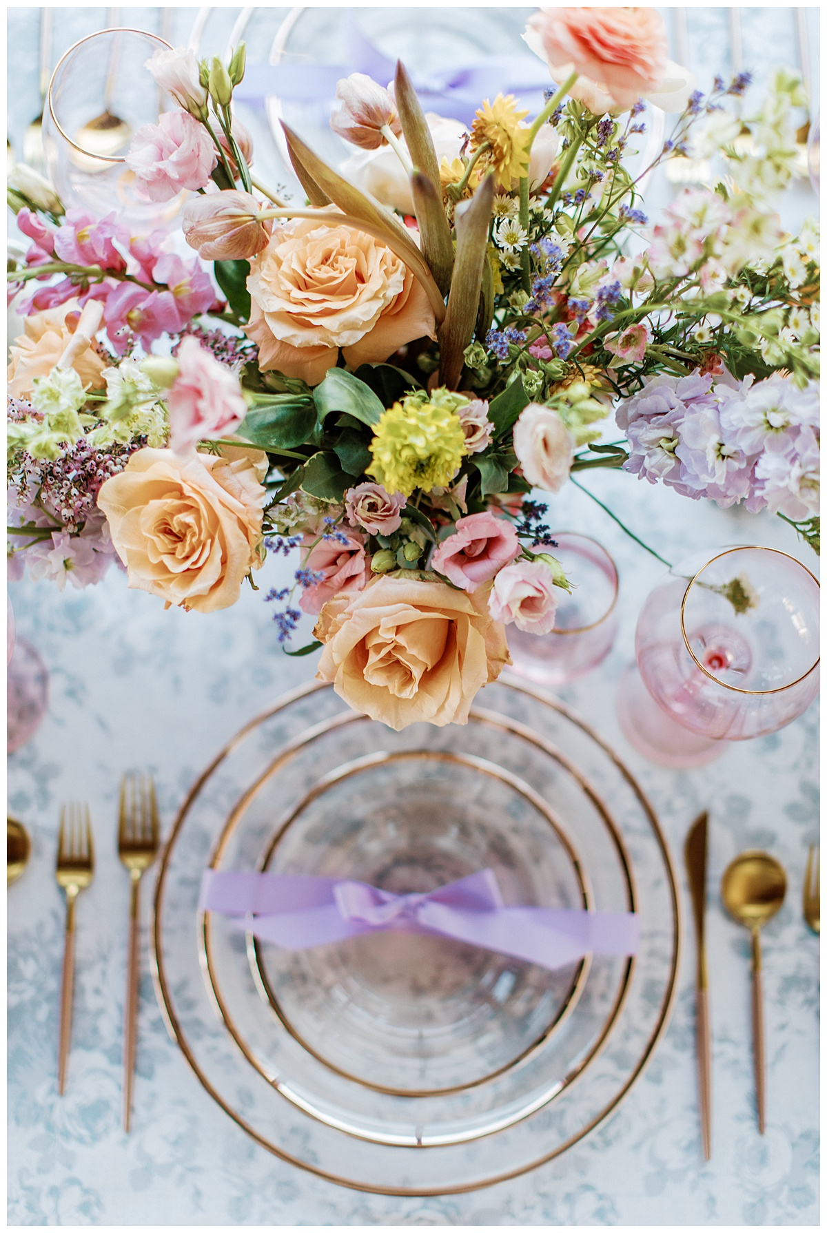 colorful spring flowers and dining table